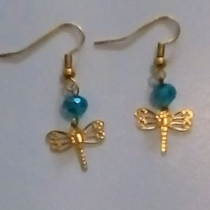 New Yellow gold plated dragon fly Earrings